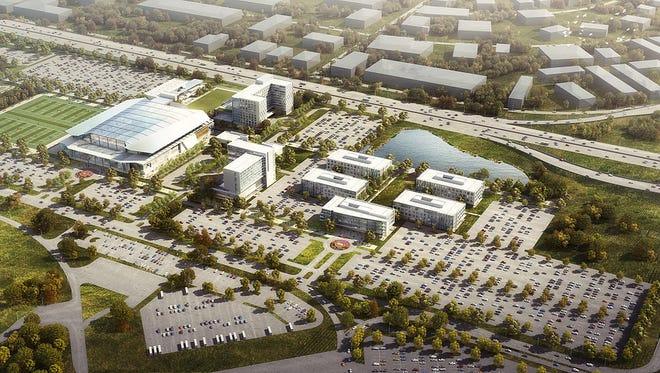 This is an aerial view rendering of the proposed Athlete's Business Network campus on the grounds of the former Indianapolis International Airport terminal.