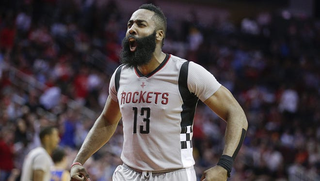 Houston Rockets guard James Harden (13) reacts while playing against the Golden State Warriors in the second half at Toyota Center.