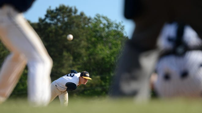 Chincoteague's Collin Derrickson delivers a pitch in the fifth inning of the Regional quarterfinal game.