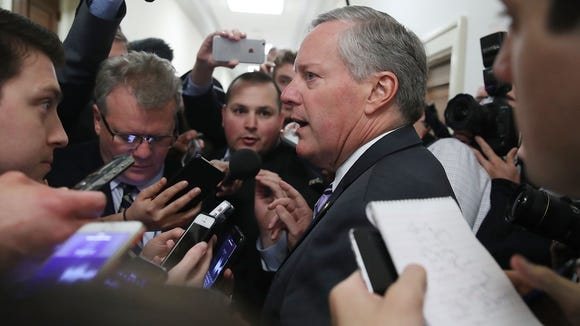 House Freedom Caucus Chairman Mark Meadows  speaks to reporters on Capitol Hill on March 23, 2017.