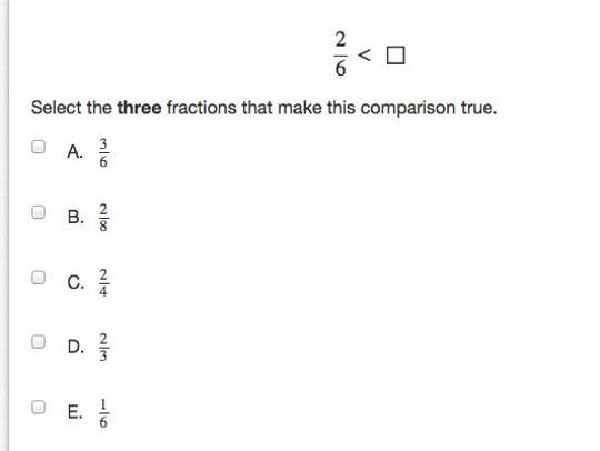 Sample question from the Grade 3 PARCC math test. Tweet