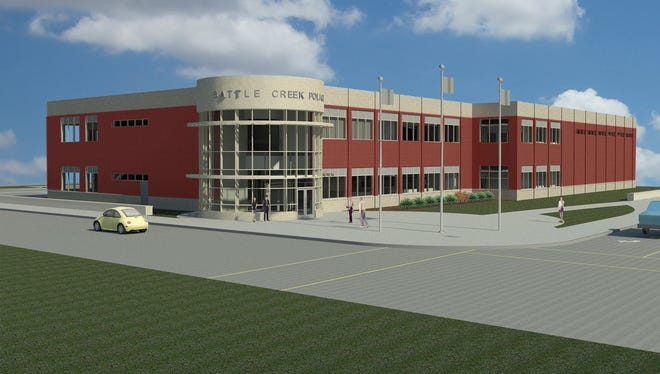 A rendering of the new Battle Creek police station.