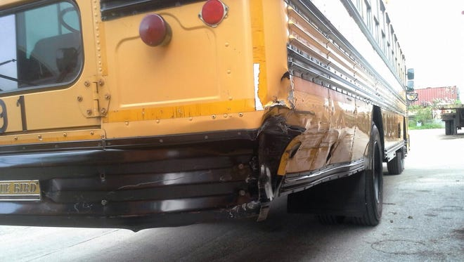 The school bus involved in a collision in Yona suffered damaged to the rear end.