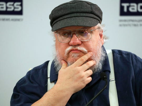 epa06147057 US writer George R.R. Martin attends a news conference in St.Petersburg, Russia, 16 August 2017. The author of 'Song of Ice and Fire' series of fantasy novels, which inspired HBO series 'Games of Thrones', visits to take part in St.Petersburg Fantastic Assembly. The event runs from 18 to 21 August.  EPA/ANATOLY MALTSEV ORG XMIT: SPB01