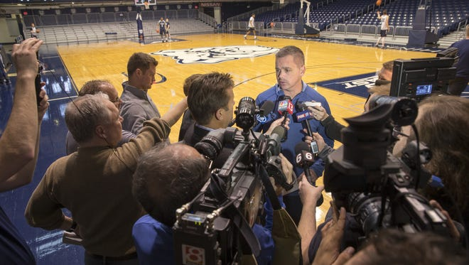 Chris Holtmann, head coach, before the day's Butler University men's basketball practice, Hinkle Fieldhouse, Monday, March 20, 2017. The team faces North Carolina in their Sweet Sixteen matchup.