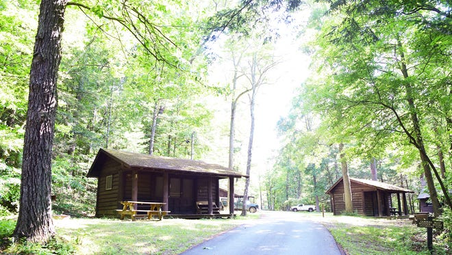 Buttermilk Falls State Park in Ithaca has 18 cabins and 25 campsites. The campground includes options for group camping and pets, as well as some amenities including electric, sleeping cots, picnic tables and fire rings.