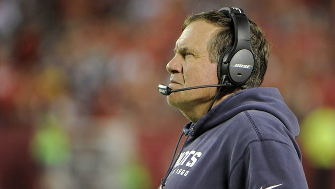 New England Patriots head coach Bill Belichick on the sidelines against the Kansas City Chiefs in the second half at Arrowhead Stadium. Kansas City won 41-14.