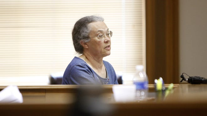 Judith Varnau takes the witness stand during a hearing Wednesday to decide whether she will keep her position as Brown County's coroner.