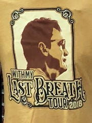 "T-shirt design for John Geiger's ""With My Last Breath Tour 2018"" speaking campaign throughout the region."