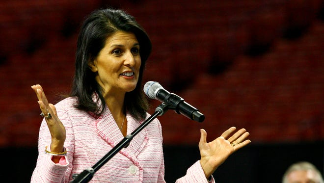South Carolina Governor Nikki Haley speaks during a press conference at the Bon Secours Wellness Arena where it was  announced that the SEC Women's basketball tournament will be held at the arena next year.
