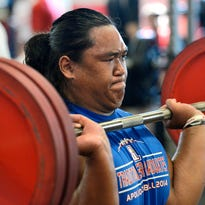 St. Cloud Apollo senior Swin Sinthavong power cleans 215 pounds during a previous Spartan Challenge at Rocori High School in Cold Spring. Sinthavong won the bench press with a lift of 335 pounds.
