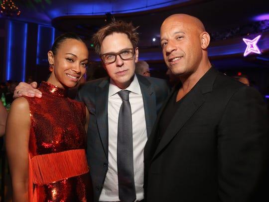 Zoe Saldana, writer/director James Gunn and Vin Diesel