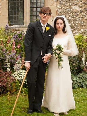Eddie Redmayne as Stephen Hawking, left, and Felicity Jones as Jane Wilde in 'The Theory of Everything.'