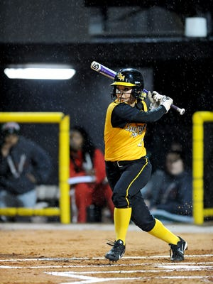 University of Southern Mississippi player Samantha Reynolds (2) at ball during a game against Mississippi Valley State for the first home game of the season Friday.