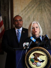 US Attorney for the Northern District of California Melinda Haag addresses a press conference about advancing improvements in police-community relations in Salinas. The event was at Sherwood Hall on Thursday. Behind her is US Department of Justice Community Oriented Policing Services Office Director Ronald Davis.