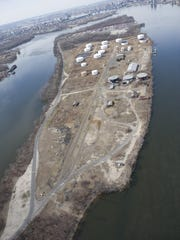 An aerial view of Petty's Island in the Delaware River.