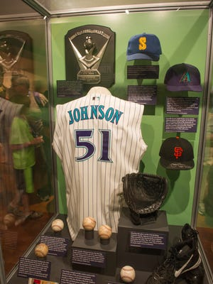 Randy Johnson's display at the National Baseball Hall of Fame in Cooperstown, New York.