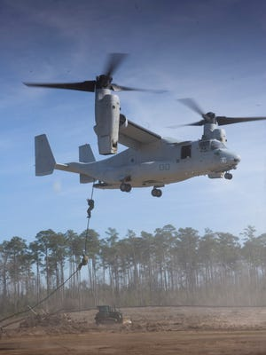 The Boeing CV-22 Osprey tiltrotor airplane.