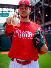 Aaron Nola shows off his curveball grip.