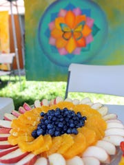 A food mandala, created by the team at Urban Arts Collaborative for the planting event on Saturday.