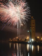 Fireworks light up the sky over the Manitowoc River