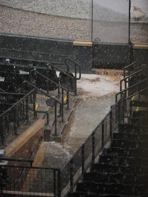 Rain delay for the Colorado Rockies vs. the Toronto Blue Jays at Coors Field on June 28, 2016 in Denver, Colorado.