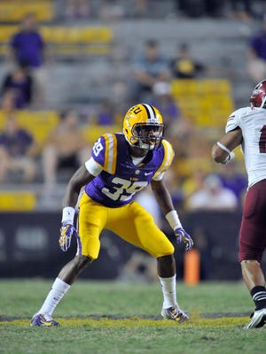 Gage Russell is shown in a game in Tiger Stadium in Baton Rouge.