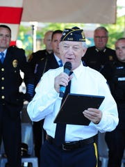 Legionnaire of the Year James Koponen speaks to those gathered at this years Patriot Day Ceremony.
