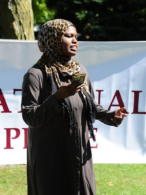 """Khadega Mohammed, 17, of Canton shares her message of unity. """"I discovered my skin color in America causes fear,"""" the Plymouth Salem High senior said."""