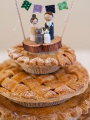 A tiered apple pie for a wedding