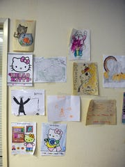 Artwork by some of the many children at the warming shelter.