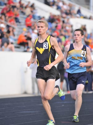Colonel Crawford's Chad Johnson runs the 3200 at Columbian High School in the Tiffin Regional.