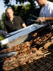 Shish kebabs grill at the Greek Festival, which returns Tuesday.