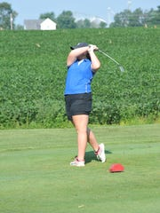 Wynford's Emily Rudd tees off on the sixth hole at