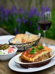 Moussaka with Small Greek Salad and Pita Bread.