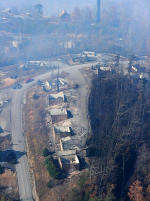 An aerial view shows destroyed buildings in the Starr Crest Resort near Pigeon Forge the day after a wildfire on Tuesday, Nov. 29, 2016, in Sevier County.  (PAUL EFIRD/NEWS SENTINEL)