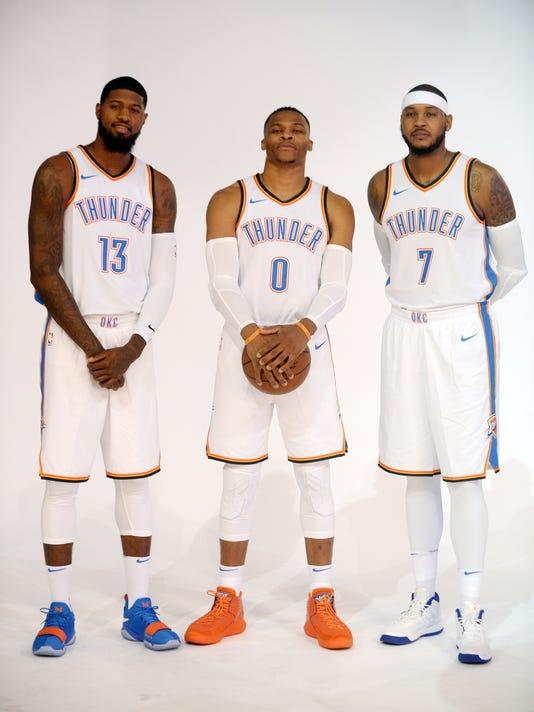 6355e2e32b65 USP NBA  OKLAHOMA CITY THUNDER-MEDIA DAY S BKN USA OK. Oklahoma City Thunder  forward Paul George ...