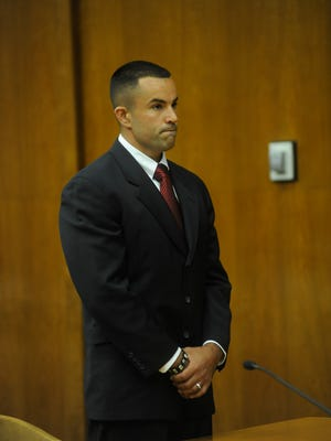 Palisades Park Police Sgt. Marc Messing in court in 2015.