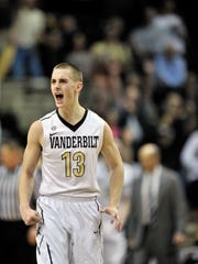 Vanderbilt guard Riley LaChance (13) reacts to scoring