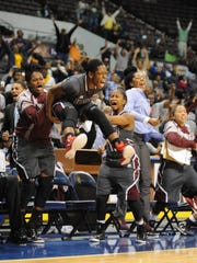UMES senior point guard Jessica Long reacts to her