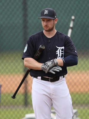 Tigers outfielder Alex Presley waits to take batting practice during the first full team workout in spring training on Feb. 18, 2017, at Publix Field at Joker Marchant Stadium in Lakeland, Fla.