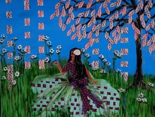"Virginia Carroll, ""Visit From a Bluebird,"" painting"