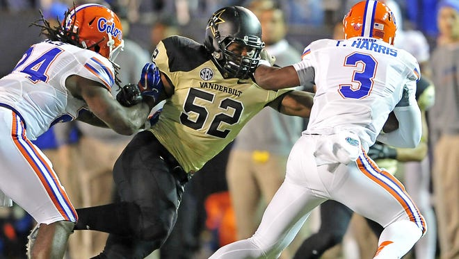 Vanderbilt linebacker Nigel Bowden earned SEC All-Freshman honors last season.