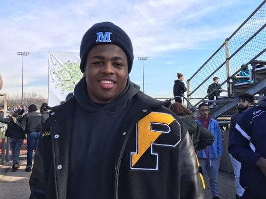 Charles Mitchell, 2015 Piscataway High School grad, returned to the school for Thursday's Thanksgiving Day game.