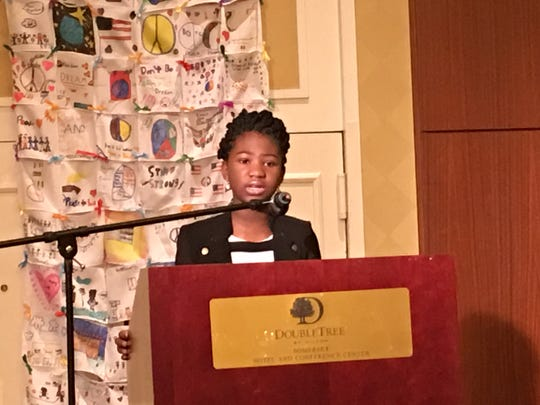 Taejah McKnight, member of the Somerset chapter of New Jersey Orators reads two poems at the 19th annual Franklin Township Community Breakfast.