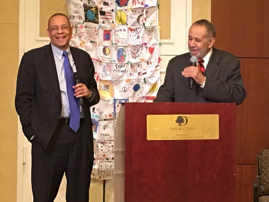 Dale Caldwell and his father, Rev. Dr. Gilbert Caldwell, during their presentation during the 19th annual Franklin Township Community Breakfast.