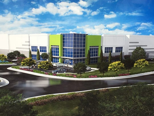 A rendering of the distribution center planned by Goodman Birtcher in Linden.