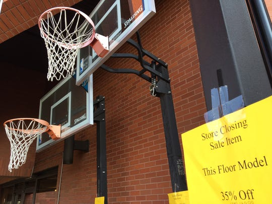 Basketball goals outside Dunham's on Tuesday were marked