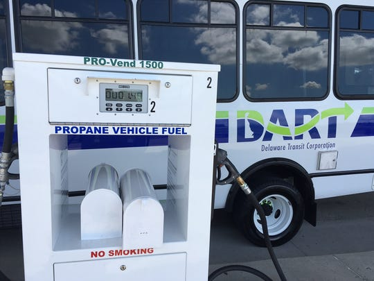 A DART paratransit bus sits behind a new propane station in New Castle. The station is part of the transit agency's expansion into propane.