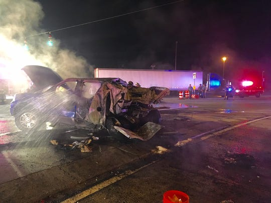 Four people were transported to area hospitals following the crash.